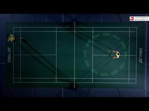 Badminton: Aufschlag Vorhand lang (von oben)