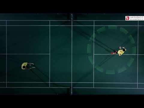 Badminton: Aufschlag Vorhand kurz (von oben)