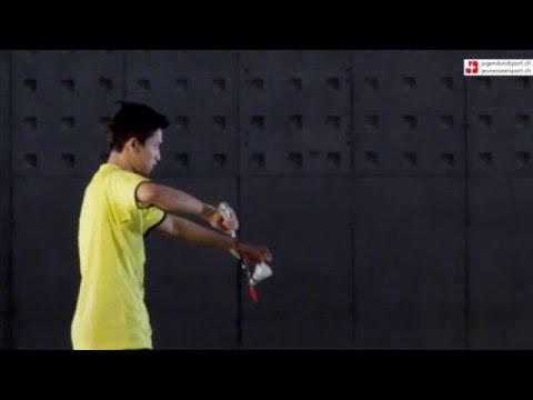 Badminton: Aufschlag Rückhand kurz (seitlich)
