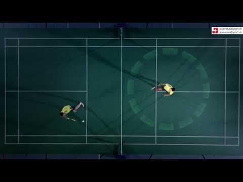 Badminton: Drive/Swip Aufschlag Rückhand (von oben)