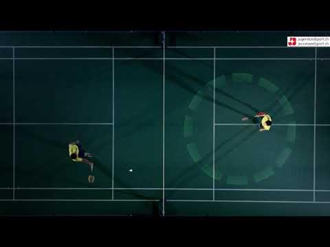 Badminton: Aufschlag Rückhand kurz (von oben)