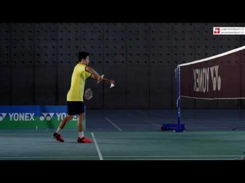 Badminton: Drive/Swip Aufschlag Rückhand (seitlich)