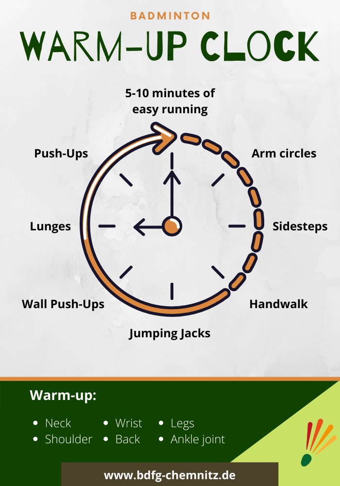 Badminton Tipps Warm-up Clock