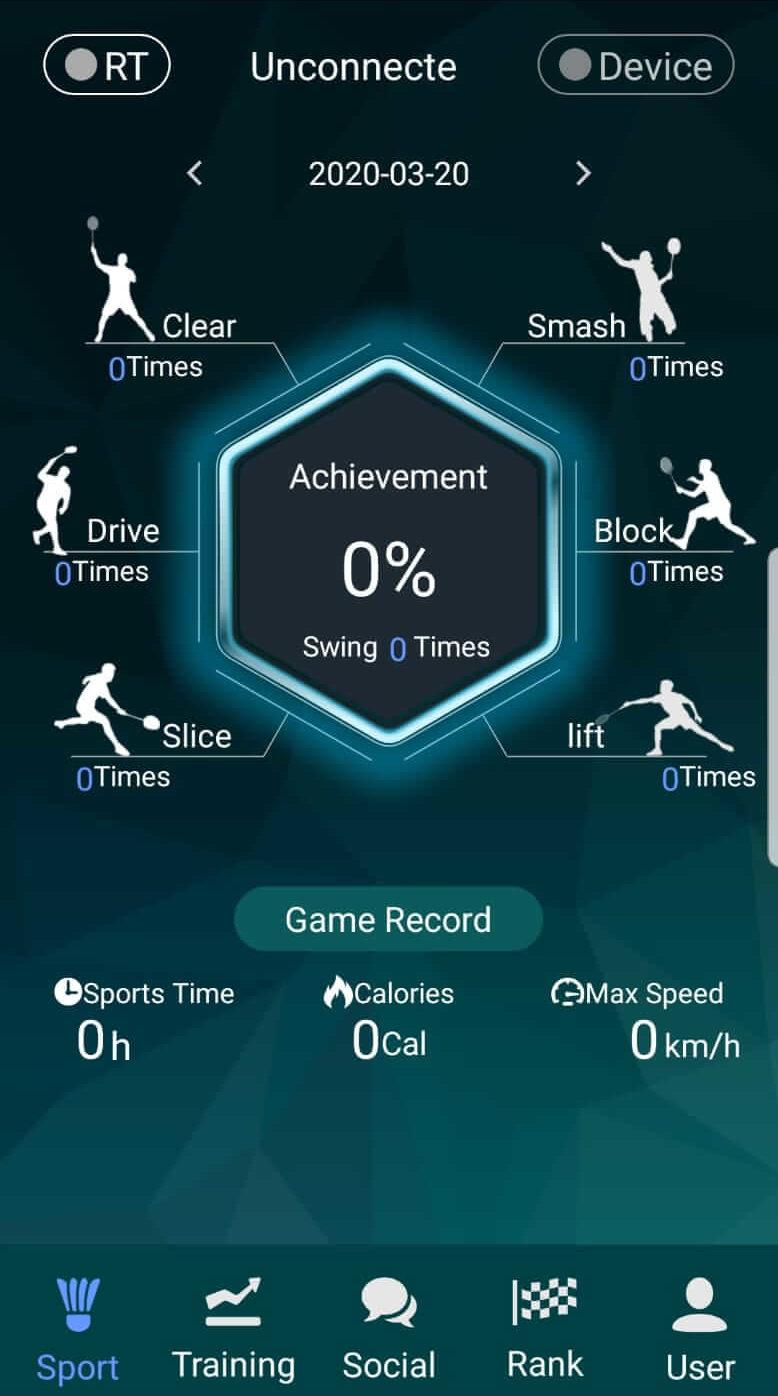 Smart Badminton - App Hud