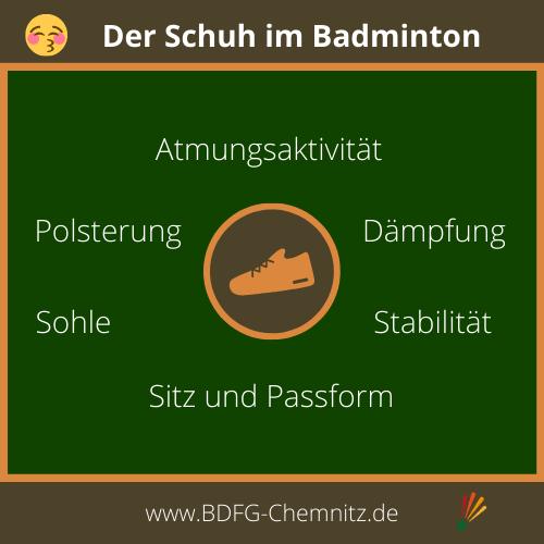 Badminton Schuh Infografik